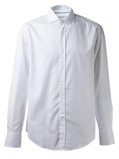 рубашка с косым воротником Brunello Cucinelli