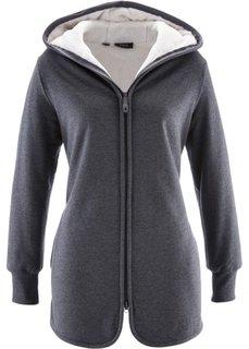 Трикотажная куртка с флисом (антрацитовый меланж) Bonprix