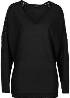 Пуловер с кружевной отделкой (красный) Bonprix