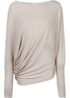 Пуловер с люрексом и асимметричным низом (черный металлик) Bonprix