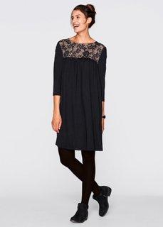 Кружевное платье с рукавом 3/4 дизайна Maite Kelly (черный) Bonprix