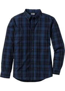 Рубашка Slim Fit с длинным рукавом (темно-оливковый в клетку) Bonprix