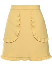 Мини-юбка с накладными карманами и оборками REDVALENTINO