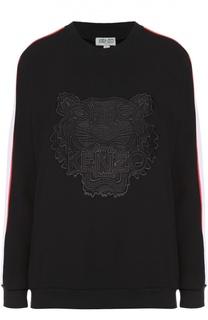 Хлопковый свитшот с контрастной отделкой и вышивкой в виде тигра Kenzo