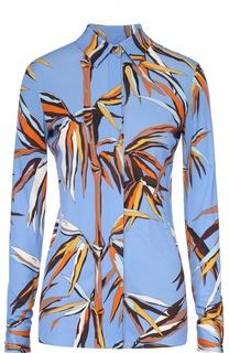 Приталенная блуза с контрастным принтом Emilio Pucci