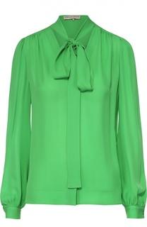 Шелковая блуза прямого кроя с воротником-аскот Emilio Pucci