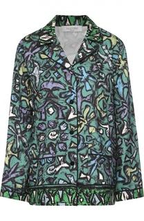 Шелковая блуза в пижамном стиле с контрастным принтом Valentino