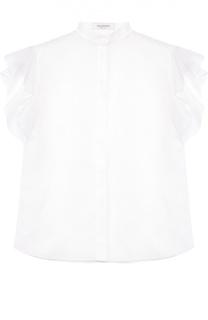 Полупрозрачная блуза с воротником-стойкой и оборками Valentino