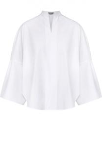 Блуза с укороченным широким рукавом и воротником-стойкой Valentino