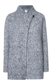 Укороченное шерстяное пальто с высоким воротником Armani Collezioni