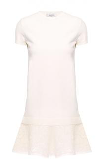 Мини-платье прямого кроя с кружевной отделкой Valentino