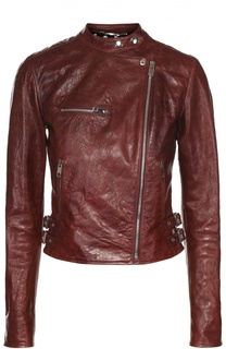 Укороченная кожаная куртка с косой молнией Dolce & Gabbana