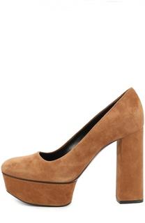 Замшевые туфли на высоком каблуке и платформе Casadei