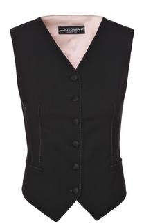 Жилет с шелковой спинкой и контрастной прострочкой Dolce & Gabbana