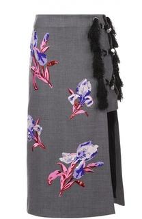 Юбка с разрезом и контрастной цветочной вышивкой Kenzo