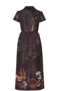 Приталенное платье-миди с контрастным принтом REDVALENTINO
