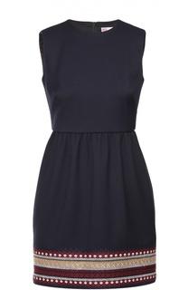 Приталенное мини-платье без рукавов с контрастной вышивкой REDVALENTINO
