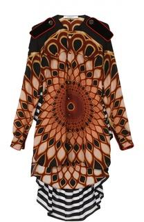 Шелковая блуза асимметричного кроя с ярким принтом Givenchy