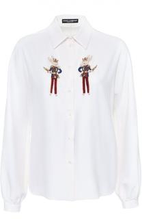 Шелковая блуза прямого кроя с контрастной вышивкой Dolce & Gabbana