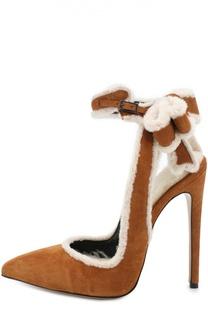 Замшевые туфли с отделкой мехом Aleksandersiradekian
