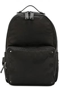 Рюкзак с камуфляжным принтом и отделкой из натуральной кожи Valentino