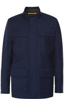 Утепленная куртка из смеси шерсти и шелка с отделкой из натуральной кожи Canali