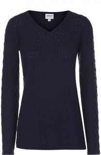 Кашемировый пуловер фактурной вязки с V-образным вырезом Armani Collezioni
