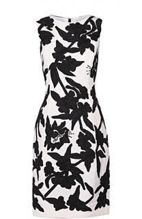 Приталенное шелковое платье с контрастной цветочной отделкой Oscar de la Renta