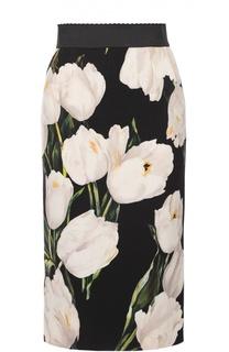 Юбка-карандаш с цветочным принтом и широким поясом Dolce & Gabbana