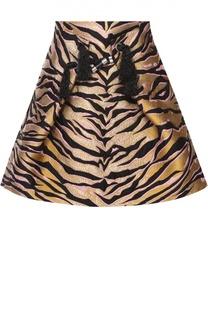 Мини-юбка со звериным принтом и декоративной отделкой Kenzo