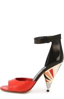 Кожаные босоножки на декорированном каблуке Givenchy