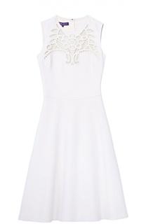 Приталенное платье без рукавов с кружевной вставкой Ralph Lauren