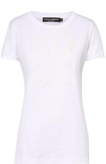 Приталенная футболка с кружевным принтом Dolce & Gabbana
