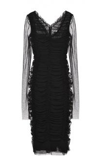 Драпированное платье-футляр с V-образным вырезом Dolce & Gabbana