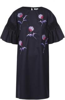 Платье прямого кроя с цветочной вышивкой и коротким рукавом Kenzo
