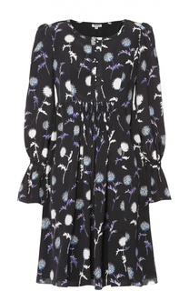 Шелковое мини-платье с завышенной талией и цветочным принтом Kenzo