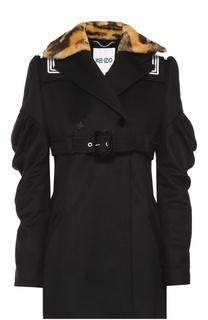 Пальто с завышенной талией и контрастным меховым воротником Kenzo