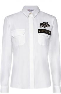 Блуза прямого кроя с накладными карманами и контрастной вышивкой REDVALENTINO