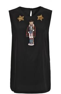 Шелковый топ без рукавов с контрастной вышивкой Dolce & Gabbana
