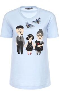 Хлопковая футболка с контрастной отделкой Dolce & Gabbana