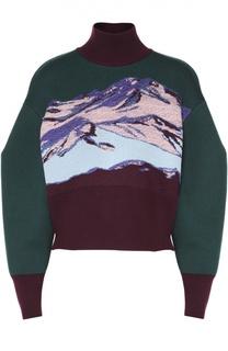 Укороченный свитер с контрастным принтом и высоким воротником Emilio Pucci