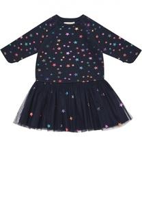 Платье с аппликациями в виде звезд Stella McCartney