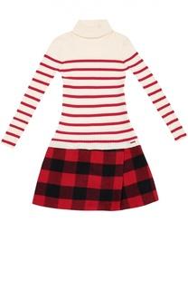 Платье джерси в полоску с клетчатой юбкой Jean Paul Gaultier