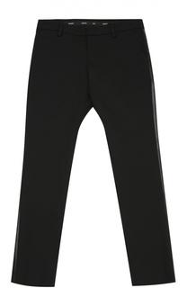 Хлопковые брюки прямого кроя с лампасами Giorgio Armani