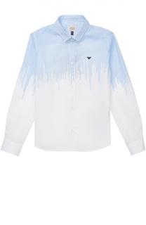 Хлопковая рубашка с контрастной отделкой Giorgio Armani