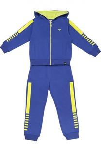 Хлопковый спортивный костюм с контрастной отделкой Giorgio Armani
