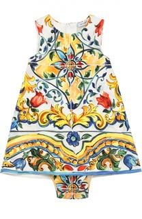 Комплект из платья и трусов с принтом Majolica Dolce & Gabbana