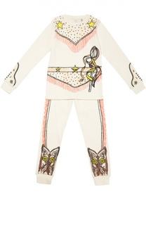 Пижама из хлопка с принтом Stella McCartney
