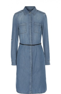 Приталенное джинсовое платье с разрезами BOSS