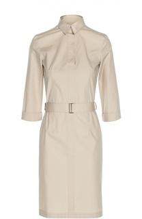 Платье-рубашка с укороченным рукавом и поясом BOSS